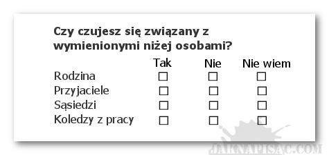 Ankieta - pytania tabelaryczne