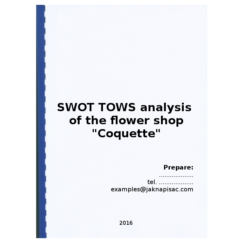 "SWOT TOWS analysis of the flower shop ""Coquette"""