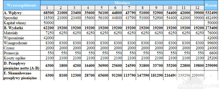 Przykład planu przepływów pieniężnych w podziale na miesiące