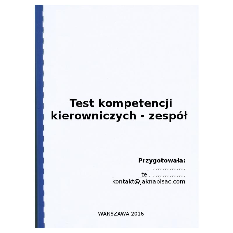 Test kompetencyjny: Test kompetencji kierowniczych - zespół - przykład