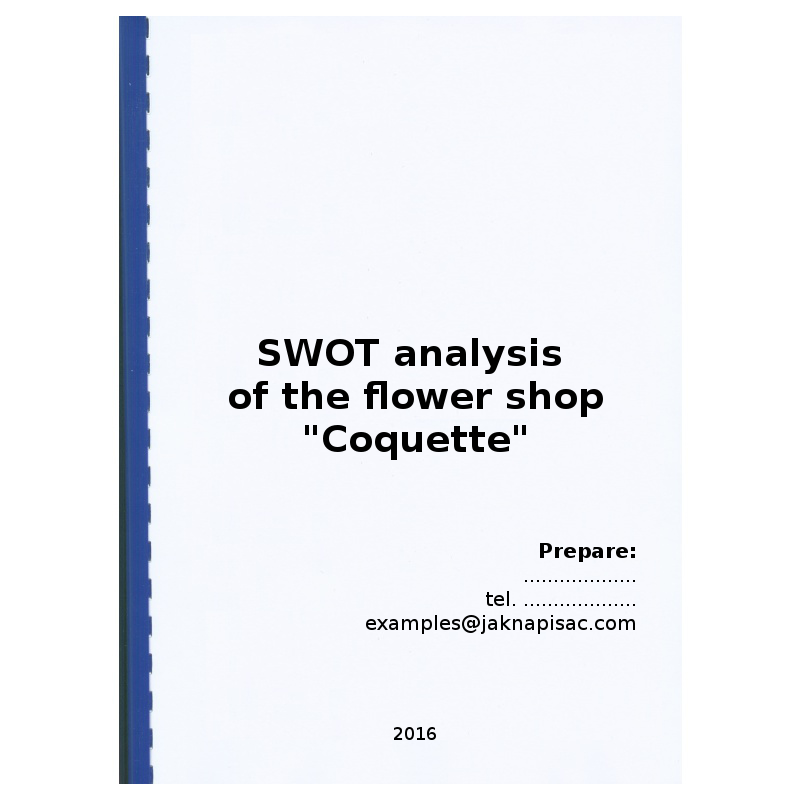 """SWOT analysis of the flower shop """"Coquette"""" - example"""