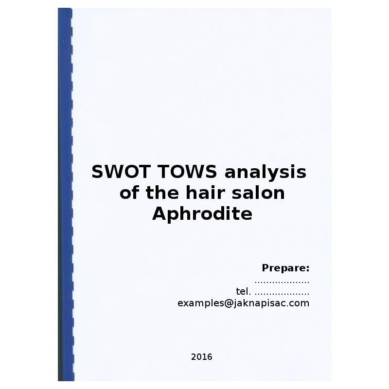 SWOT TOWS analysis of the hair salon Aphrodite - example