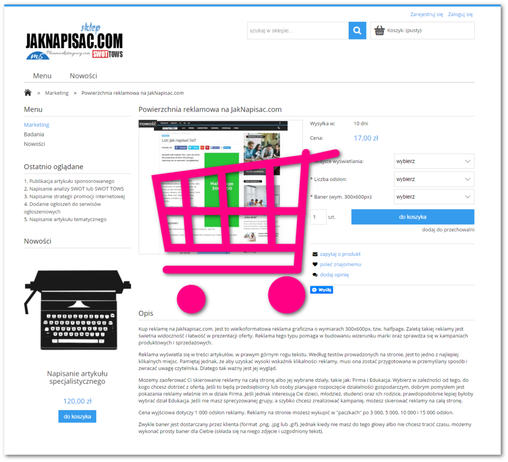 Powierzchnia reklamowa na JakNapisac.com