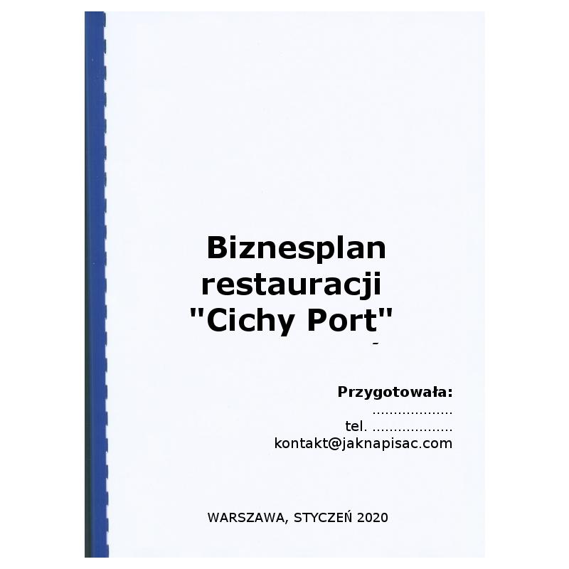 """Biznesplan restauracji """"Cichy Port"""""""