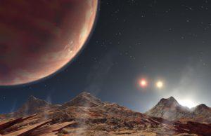 Potrójny zachód słońca na HD 188753 A b – wizja artysty