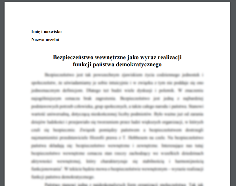 Esej: Bezpieczeństwo wewnętrzne jako wyraz realizacji funkcji państwa demokratycznego