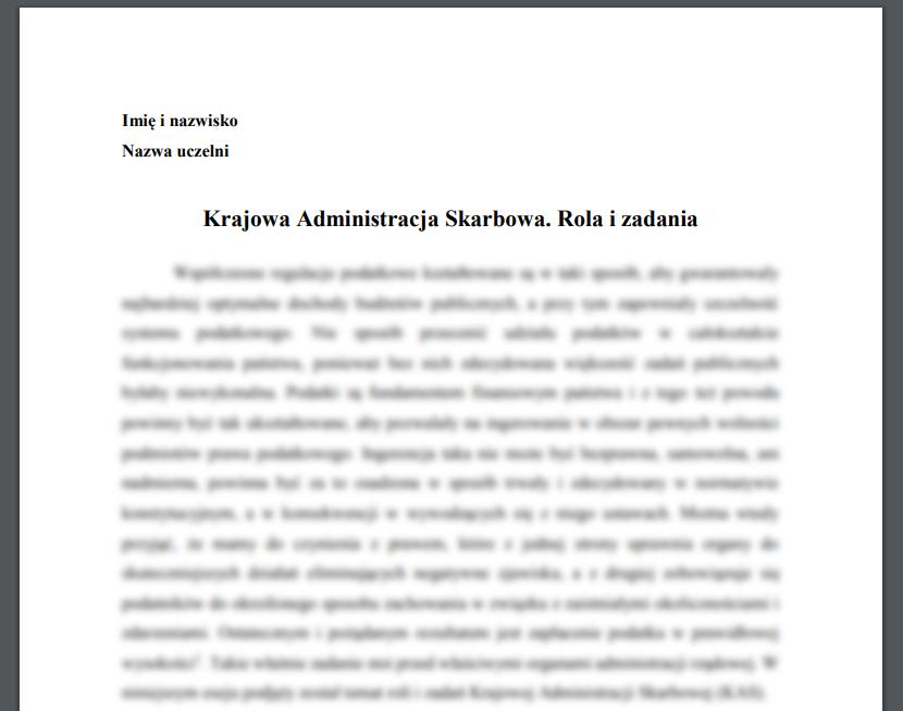 Esej: Krajowa Administracja Skarbowa. Rola i zadania