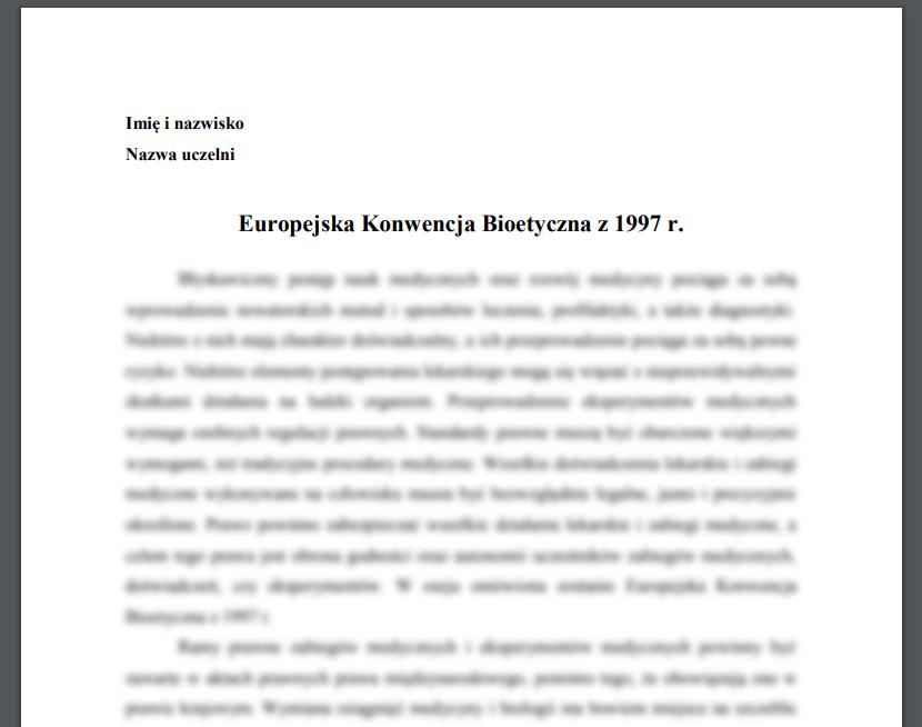 Esej: Europejska Konwencja Bioetyczna z 1997 r.