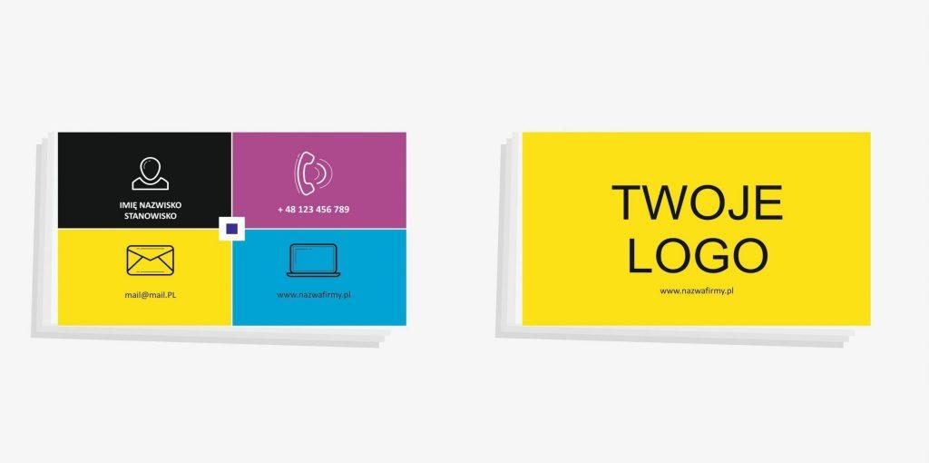 kolorowe wizytówki dwustronne, dwie strony wizytówki