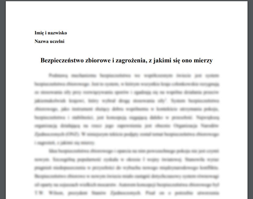 Esej: Bezpieczeństwo zbiorowe i zagrożenia, z jakimi się ono mierzy