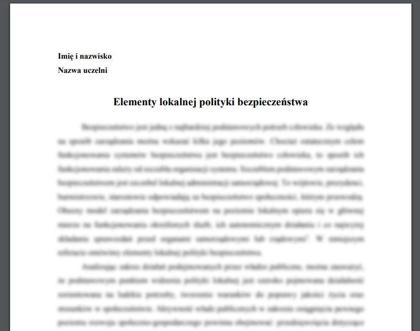 Esej: Elementy lokalnej polityki bezpieczeństwa