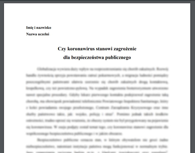 Esej: Czy koronawirus stanowi zagrożenie dla bezpieczeństwa publicznego