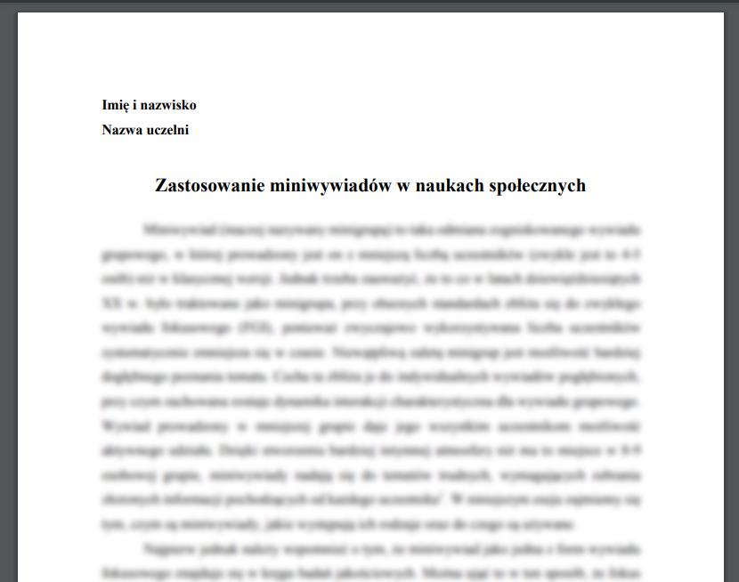 Esej: Zastosowanie miniwywiadów w naukach społecznych