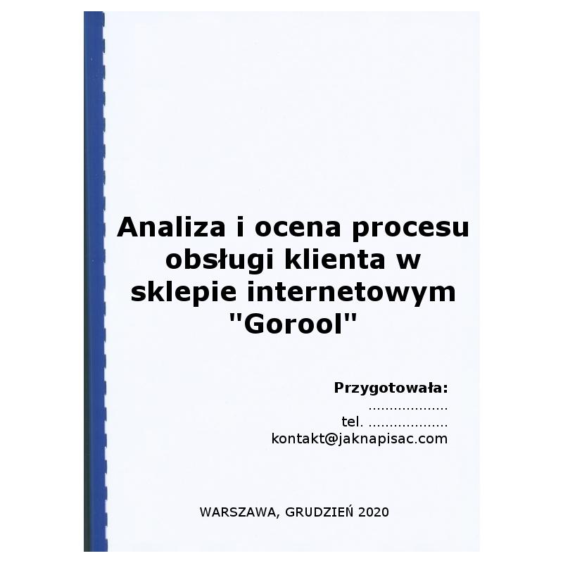 """Analiza i ocena procesu obsługi klienta w sklepie internetowym """"Gorool"""""""