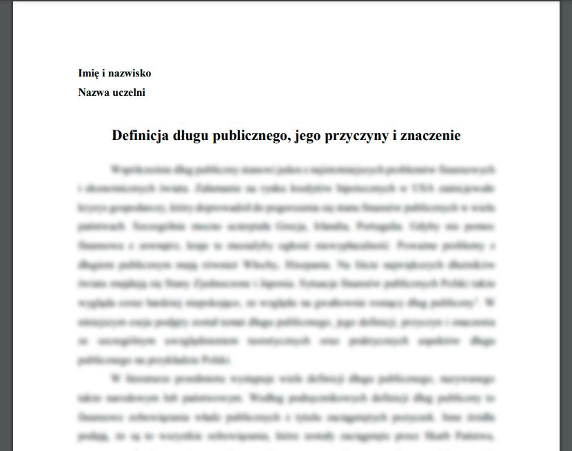 Esej: Definicja długu publicznego, jego przyczyny i znaczenie