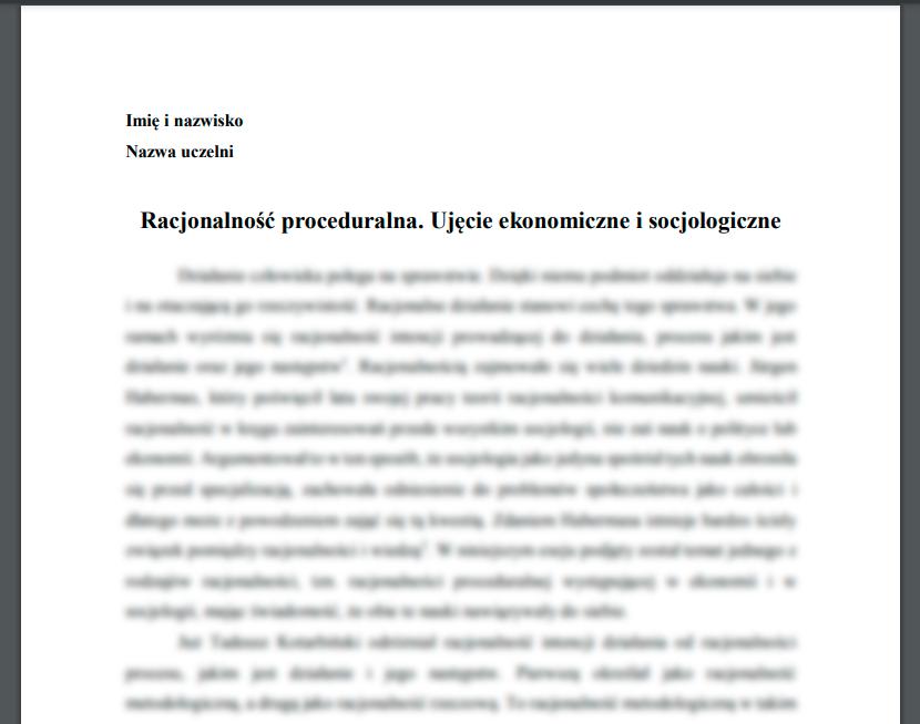Esej: Racjonalność proceduralna. Ujęcie ekonomiczne i socjologiczne